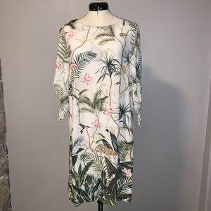 NWT H&M Tropical Print Tie-Sleeve dress, Sz 8